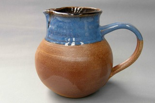 Large Irish pottery woodfired/ blue jug made in West Cork Ireland