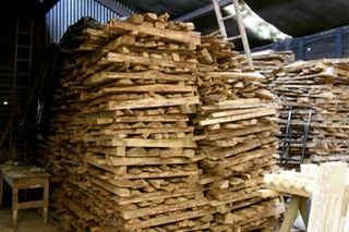 Coolavokig Pottery wood fired kiln wood stacks